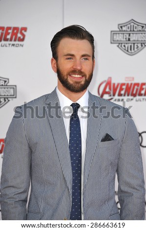 """LOS ANGELES, CA - APRIL 13, 2015: Chris Evans at the world premiere of his movie """"Avengers: Age of Ultron"""" at the Dolby Theatre, Hollywood.  - stock photo"""