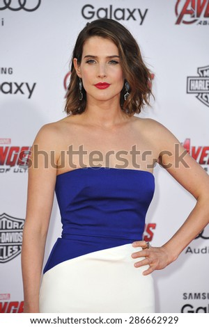 """LOS ANGELES, CA - APRIL 13, 2015: Cobie Smulders at the world premiere of her movie """"Avengers: Age of Ultron"""" at the Dolby Theatre, Hollywood.  - stock photo"""
