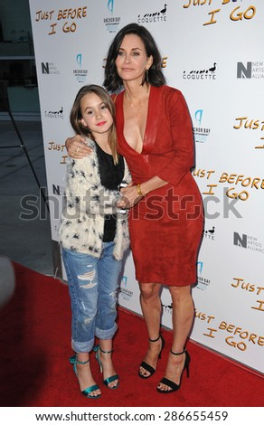 """LOS ANGELES, CA - APRIL 20, 2015: Courteney Cox & daughter Coco Arquette at the premiere of her movie """"Just Before I Go"""" at the Arclight Theatre, Hollywood.  - stock photo"""