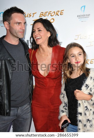 "LOS ANGELES, CA - APRIL 20, 2015: Courteney Cox & Johnny McDaid & her daughter Coco Arquette at the premiere of her movie ""Just Before I Go"" at the Arclight Theatre, Hollywood."