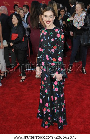 """LOS ANGELES, CA - APRIL 13, 2015: Elizabeth Henstridge at the world premiere of """"Avengers: Age of Ultron"""" at the Dolby Theatre, Hollywood.  - stock photo"""