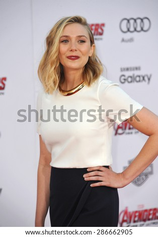 """LOS ANGELES, CA - APRIL 13, 2015: Elizabeth Olsen at the world premiere of her movie """"Avengers: Age of Ultron"""" at the Dolby Theatre, Hollywood.  - stock photo"""