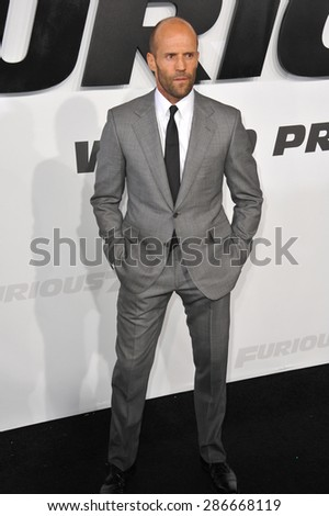 """LOS ANGELES, CA - APRIL 1, 2015: Jason Statham at the world premiere of his movie """"Furious 7"""" at the TCL Chinese Theatre, Hollywood.  - stock photo"""