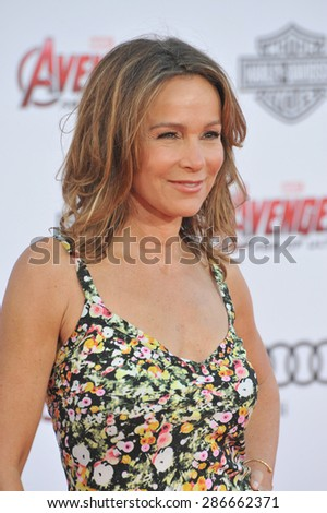 """LOS ANGELES, CA - APRIL 13, 2015: Jennifer Grey at the world premiere of """"Avengers: Age of Ultron"""" at the Dolby Theatre, Hollywood.  - stock photo"""