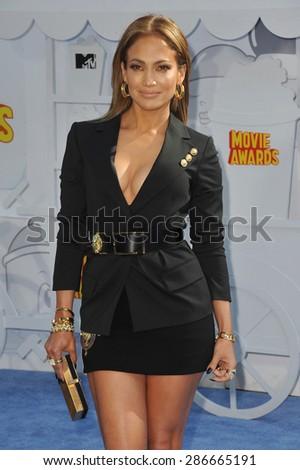 LOS ANGELES, CA - APRIL 12, 2015: Jennifer Lopez at the 2015 MTV Movie Awards at the Nokia Theatre LA Live.  - stock photo