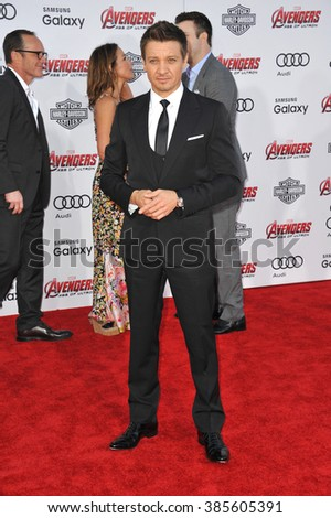 """LOS ANGELES, CA - APRIL 13, 2015: Jeremy Renner at the world premiere of his movie """"Avengers: Age of Ultron"""" at the Dolby Theatre, Hollywood. - stock photo"""