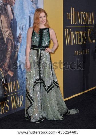 "LOS ANGELES, CA. April 11, 2016: Jessica Chastain at the US premiere of ""The Huntsman: Winter's War"" at the Regency Village Theatre, Westwood.