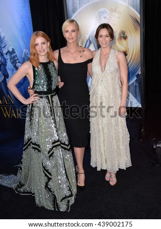 "LOS ANGELES, CA. April 11, 2016: Jessica Chastain, Charlize Theron & Emily Blunt at the US premiere of ""The Huntsman: Winter's War"" at the Regency Village Theatre, Westwood.