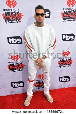LOS ANGELES, CA. April 3, 2016. Musician Chris Brown at the iHeartRadio Music Awards 2016 at The Forum.
