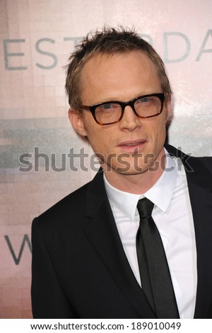 "LOS ANGELES, CA - APRIL 10, 2014: Paul Bettany at the Los Angeles premiere of his movie ""Transcendence"" at the Regency Village Theatre, Westwood."