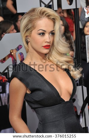 LOS ANGELES, CA - APRIL 13, 2014: Rita Ora at the 2014 MTV Movie Awards at the Nokia Theatre LA Live.