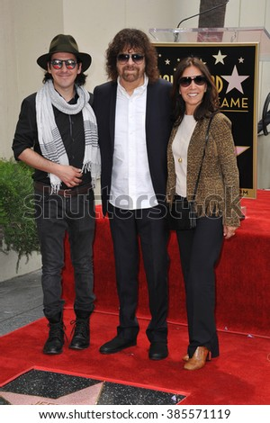 LOS ANGELES, CA - APRIL 23, 2015: Rock artist Jeff Lynne, Olivia Harrison & Dhani Harrison (widow & son of George Harrison) in Hollywood where Lynne received a star on the Hollywood Walk of Fame