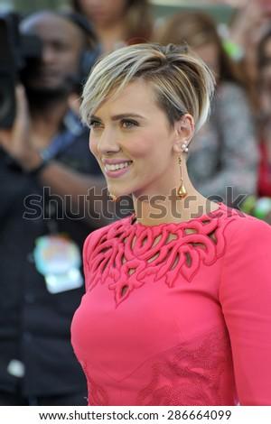 LOS ANGELES, CA - APRIL 12, 2015: Scarlett Johansson at the 2015 MTV Movie Awards at the Nokia Theatre LA Live.  - stock photo