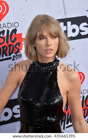 LOS ANGELES, CA. April 3, 2016. Singer Taylor Swift at the iHeartRadio Music Awards 2016 at The Forum.