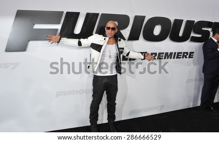 "LOS ANGELES, CA - APRIL 1, 2015: Vin Diesel at the world premiere of his movie ""Furious 7"" at the TCL Chinese Theatre, Hollywood. April 1, 2015  Los Angeles, CA  - stock photo"