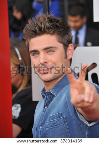 LOS ANGELES, CA - APRIL 13, 2014: Zac Efron at the 2014 MTV Movie Awards at the Nokia Theatre LA Live. - stock photo
