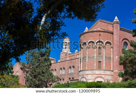 LOS ANGELES, CA - AUG 21:Romanesque architecture of Royce Hall on the campus of UCLA. Royce Hall is one of four original buildings on UCLA's Westwood campus. LOS ANGELES, CA, AUG 21,2010 - stock photo