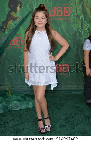 "LOS ANGELES, CA. August 14, 2016: Actress Addison Riecke at the world premiere of ""Kubo and the Two Strings"" at AMC Universal City Walk."