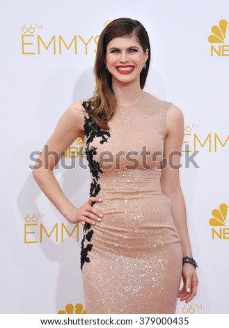 LOS ANGELES, CA - AUGUST 25, 2014: Alexandra Daddario at the 66th Primetime Emmy Awards at the Nokia Theatre L.A. Live downtown Los Angeles.
