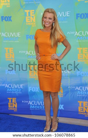 LOS ANGELES, CA - AUGUST 7, 2011: Blake Lively arrives at the 2011 Teen Choice Awards at the Gibson Amphitheatre, Universal Studios, Hollywood. August 7, 2011  Los Angeles, CA