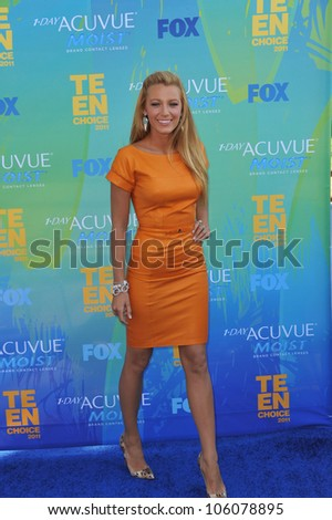 LOS ANGELES, CA - AUGUST 7, 2011: Blake Lively arrives at the 2011 Teen Choice Awards at the Gibson Amphitheatre, Universal Studios, Hollywood. August 7, 2011  Los Angeles, CA - stock photo