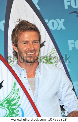 LOS ANGELES, CA - AUGUST 8, 2010: David Beckham - winner of the Choice Athlete, Male, award - at the 2010 Teen Choice Awards at the Gibson Amphitheatre. - stock photo