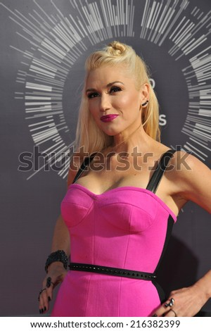 LOS ANGELES, CA - AUGUST 24, 2014: Gwen Stefani at the 2014 MTV Video Music Awards at the Forum, Los Angeles.  - stock photo