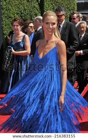 LOS ANGELES, CA - AUGUST 16, 2014: Heidi Klum at the 2014 Creative Arts Emmy Awards at the Nokia Theatre LA Live.  - stock photo