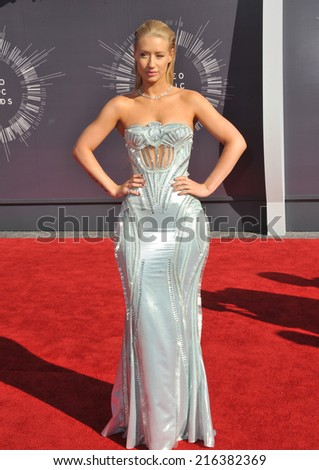 LOS ANGELES, CA - AUGUST 24, 2014: Iggy Azalea at the 2014 MTV Video Music Awards at the Forum, Los Angeles.  - stock photo