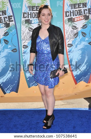 LOS ANGELES, CA - AUGUST 8, 2010: Jennifer Stone at the 2010 Teen Choice Awards at the Gibson Amphitheatre, Universal Studios, Hollywood.