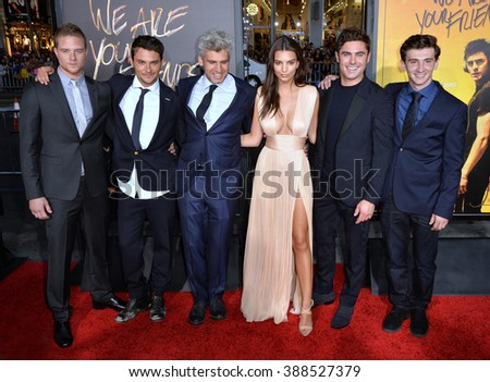 "LOS ANGELES, CA - AUGUST 20, 2015: Jonny Weston, Shiloh Fernandez, director Max Joseph, Emily Ratajkowski, Zac Efron & Alex Shaffer at the Los Angeles premiere of their movie ""We Are Your Friends"" - stock photo"