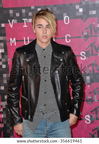 LOS ANGELES, CA - AUGUST 30, 2015: Justin Bieber at the 2015 MTV Video Music Awards at the Microsoft Theatre LA Live.