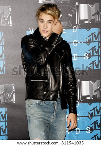 LOS ANGELES, CA - AUGUST 30, 2015: Justin Bieber at the 2015 MTV Video Music Awards held at the Microsoft Theater in Los Angeles, USA on August 30, 2015. - stock photo
