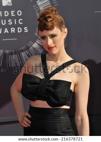 LOS ANGELES, CA - AUGUST 24, 2014: Kiesza at the 2014 MTV Video Music Awards at the Forum, Los Angeles.  - stock photo