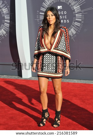 LOS ANGELES, CA - AUGUST 24, 2014: Kim Kardashian at the 2014 MTV Video Music Awards at the Forum, Los Angeles.  - stock photo