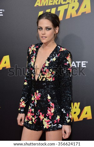 "LOS ANGELES, CA - AUGUST 18, 2015: Kristen Stewart at the world premiere of her movie ""American Ultra"" at The Ace Hotel Downtown.