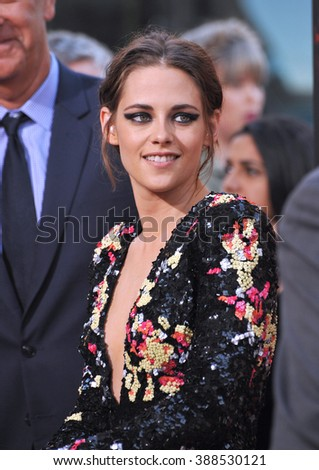 "LOS ANGELES, CA - AUGUST 18, 2015: Kristen Stewart at the world premiere of her movie ""American Ultra"" at The Ace Hotel Downtown. - stock photo"