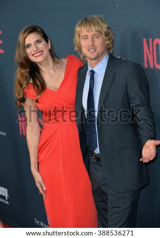 """LOS ANGELES, CA - AUGUST 17, 2015: Lake Bell & Owen Wilson at the Los Angeles premiere of their movie """"No Escape"""" at the Regal Cinemas LA Live. - stock photo"""