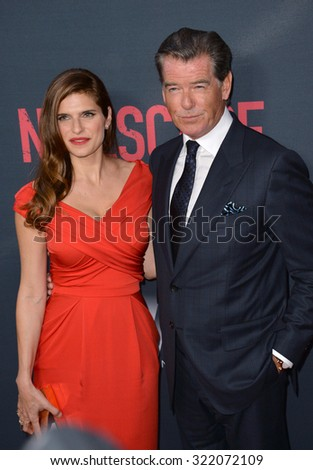 "LOS ANGELES, CA - AUGUST 17, 2015: Lake Bell & Pierce Brosnan at the Los Angeles premiere of their movie ""No Escape"" at the Regal Cinemas LA Live. 
