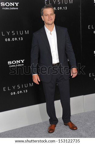"LOS ANGELES, CA - AUGUST 7, 2013: Matt Damon at the world premiere of his movie ""Elysium"" at the Regency Village Theatre, Westwood.  - stock photo"