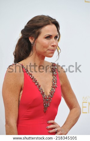 LOS ANGELES, CA - AUGUST 25, 2014: Minnie Driver at the 66th Primetime Emmy Awards at the Nokia Theatre L.A. Live downtown Los Angeles.  - stock photo