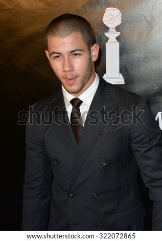 LOS ANGELES, CA - AUGUST 13, 2015: Nick Jonas at the Hollywood Foreign Press Association's Grants Banquet at the Beverly Wilshire Hotel.  - stock photo