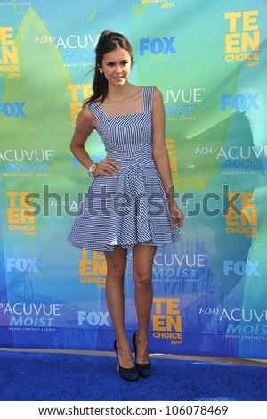 LOS ANGELES, CA - AUGUST 7, 2011: Nina Dobrev arrives at the 2011 Teen Choice Awards at the Gibson Amphitheatre, Universal Studios, Hollywood. August 7, 2011  Los Angeles, CA