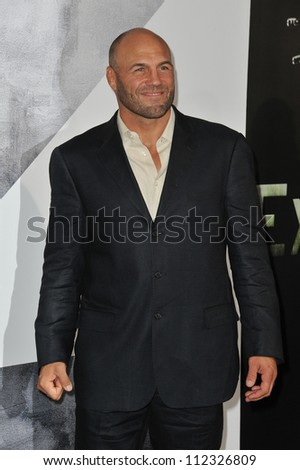"LOS ANGELES, CA - AUGUST 16, 2012: Randy Couture at the Los Angeles premiere of his movie ""The Expendables 2"" at Grauman's Chinese Theatre, Hollywood."