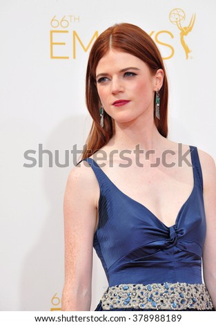 LOS ANGELES, CA - AUGUST 25, 2014: Rose Leslie at the 66th Primetime Emmy Awards at the Nokia Theatre L.A. Live downtown Los Angeles.