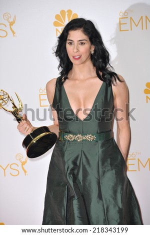 LOS ANGELES, CA - AUGUST 25, 2014: Sarah Silverman at the 66th Primetime Emmy Awards at the Nokia Theatre L.A. Live downtown Los Angeles.
