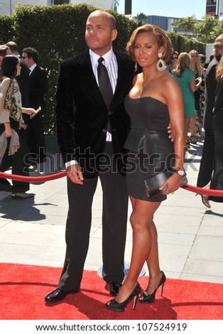 LOS ANGELES, CA - AUGUST 21, 2010: Spice Girl Melanie Brown, aka Mel B. & husband Stephen Belafonte at the 2010 Creative Arts Emmy Awards at the Nokia Theatre L.A. Live.