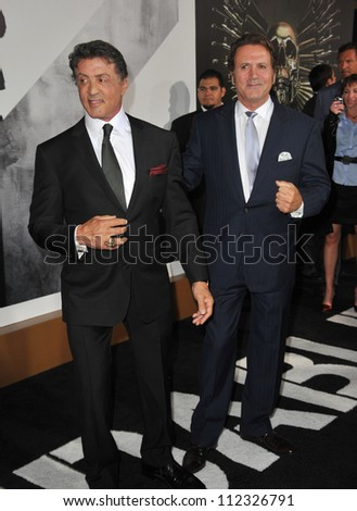"LOS ANGELES, CA - AUGUST 16, 2012: Sylvester Stallone & brother Frank Stallone (right) at the Los Angeles premiere of his movie ""The Expendables 2"" at Grauman's Chinese Theatre, Hollywood."