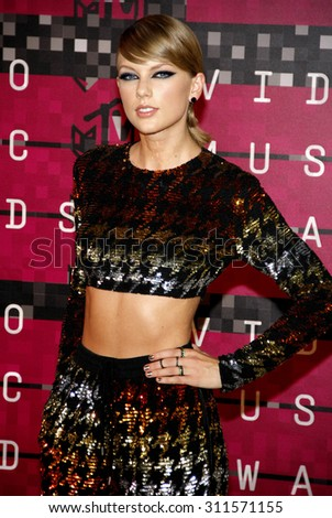 LOS ANGELES, CA - AUGUST 30, 2015: Taylor Swift at the 2015 MTV Video Music Awards held at the Microsoft Theater in Los Angeles, USA on August 30, 2015. - stock photo