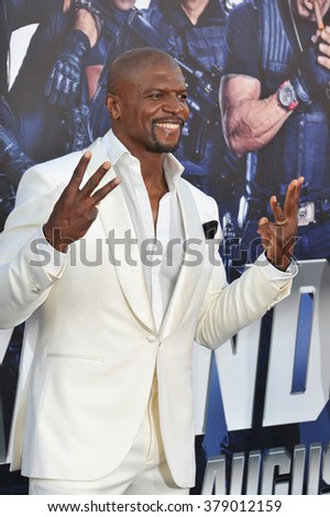 "LOS ANGELES, CA - AUGUST 11, 2014: Terry Crews at the Los Angeles premiere of his movie ""The Expendables 3"" at the TCL Chinese Theatre, Hollywood."